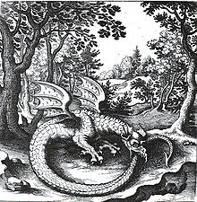 Ouroboros Engraving by Lucas Jennis in alchemical tract titled De Lapide Philosophico
