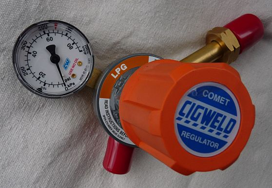 Regulator for LP Gas Jewelers Torches up to 600 KPa from ngp using Cigweld components