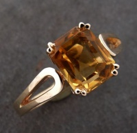 118RGC Ring in 9ct Yellow Gold loop shank Design featuring rectangular faceted Citrin set with 8 claws