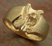 143RYG Ring wide deep carved sculptured in 9ctYellow Gold