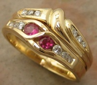 18ct Yellow Gold Engagement Ring and fitted wedder chanel set Brilliants and Rubies 2.75mm