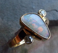 Diamond Opal Ring with non-symmetric shank