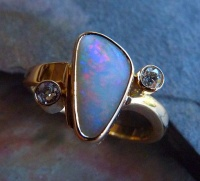 opal Gold Ring with twisted shank