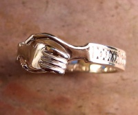 Medieval Wedding Betrothal Ring clasped Hands 9k Rose Gold