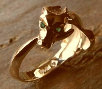 Ouroboros Ring featuring faceted hydrothermal emerald eyes in Rose Gold