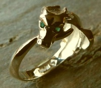 Ouroboros Ring 18ct Yellow Gold facetted hydrothermal emeralds eyes