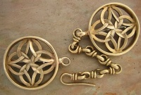 Medieval Cloak pins Celtic Style Fibula Dark Ages 7th -14th century Western Europe pair with chain and hook attachment