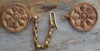 Medieval cloak pins Early Gothic Style Fibula pair with chain