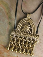 Pendant Bronze Medieval Russian Viking Needle Case on flat leather