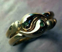 YinYang Rings pair in 18ct Yellow Gold  with rubbed in Emeralds