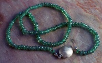 Chain Chrysoprase bead necklace with Sterling Silver clasp