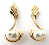 459EP Ear stud pair in 9ct Yellow Gold Waterfall Design carved with attachment embracing Broome South Sea Pearls
