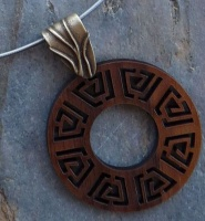 Necklace Stainless Steel Spiral Wire 1.2mm thickness Walnut wood disc on brass pinch bail Silver Tube Clasp Figure8 Safety catch