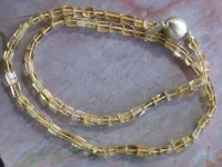 Necklace Citrine rectangular beads 50cm with round satin matt goldplated 12mm clasp