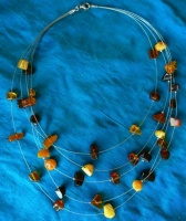 89A Amber Necklace multicoloured tumbled shapes