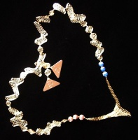 Bookmarks from streched Italian Wire Mesh with engraved initial silver plaques triangular and natural gemstone beads