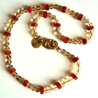 Necklace Bead Chain featuring strong contrasts between Yellow and Red, consisting of round 6mm Citrine Beads and 8x4mm Red Lace Agate Hexagon Spacer Beads, plain round Brass Clasp