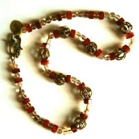 Chain rd Citrine Beads Red Lace Agate Hexagons, Brass Clasp, Brass Beads hollow Filligree