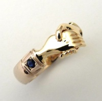 Handring in 9ct Yellow Gold halfround profile without engraving 2 Sapphires bead set into cuffs