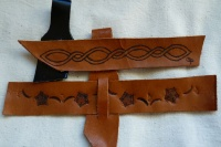 11, 45 leather belt holders for drinking horns11 Celtic pattern and stamped pattern flower
