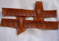 47 leather belt holders for drinking horns stamped patterns triangles