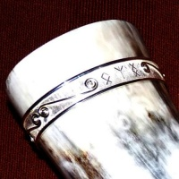 Silver Spiral Rim on Viking drinking horn with hand-engraved Runes